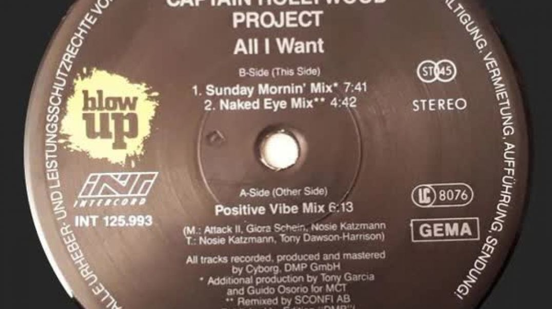 Captain Hollywood Project - All I Want (Positive Vibe Mix)