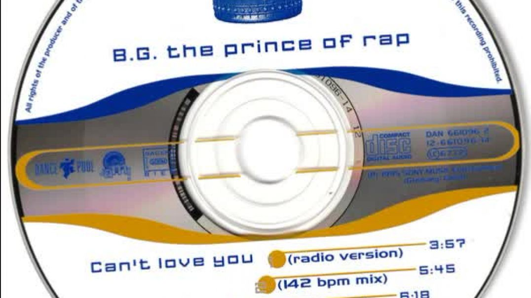B.G. The Prince Of Rap - Can't Love You (142 Bpm Mix)